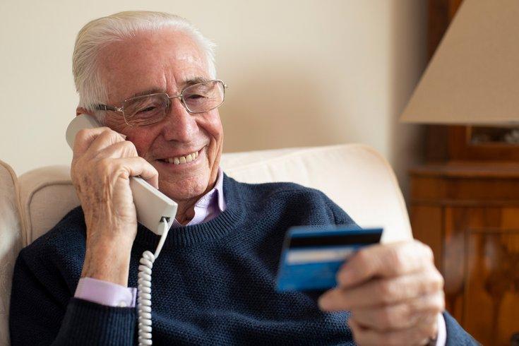 Elderly man being scammed on phone