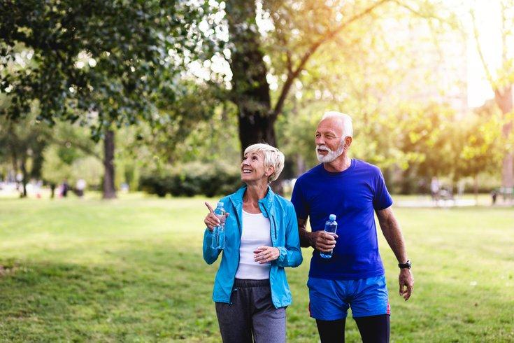 Senior couple on a walk in a park