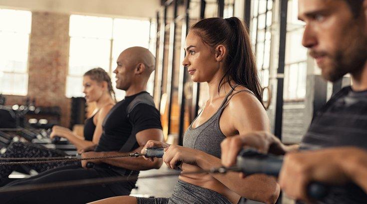 Woman using a cardio workout machine