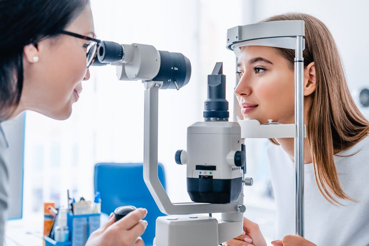 Purchased -  A doctor giving a patient an eye exam