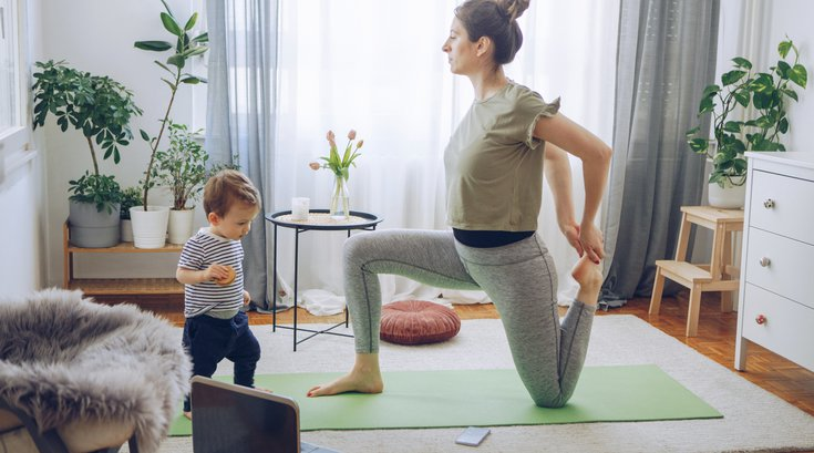 Mom and child workout stock