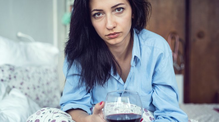 Limited - Sad Woman Drinking Wine
