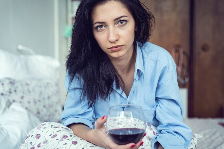 Limited - Sad Woman Drinking Wine