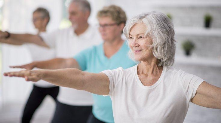 Elderly Women in Group Wellness Class