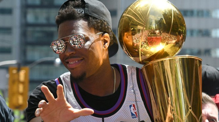 Kyle Lowry raptors trophy NBA