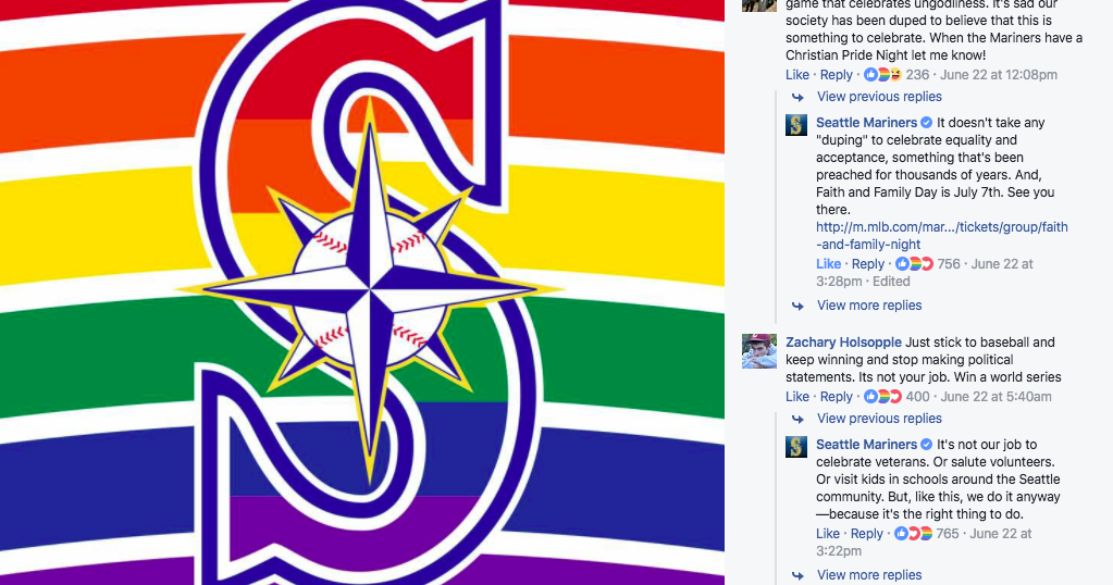Mariners Respond To Facebook Commenters Angry With Lgbtq Pride