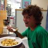 Isaac eating pancakes