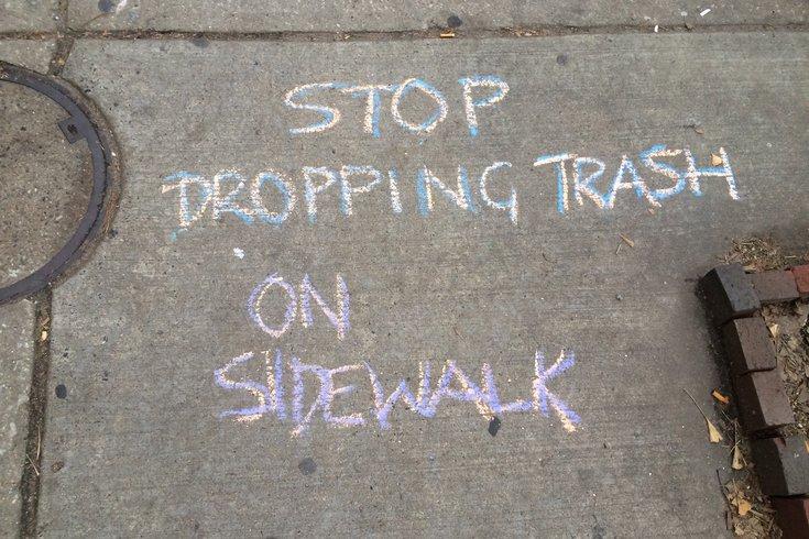 South Philly Litter Sidewalk Chalk
