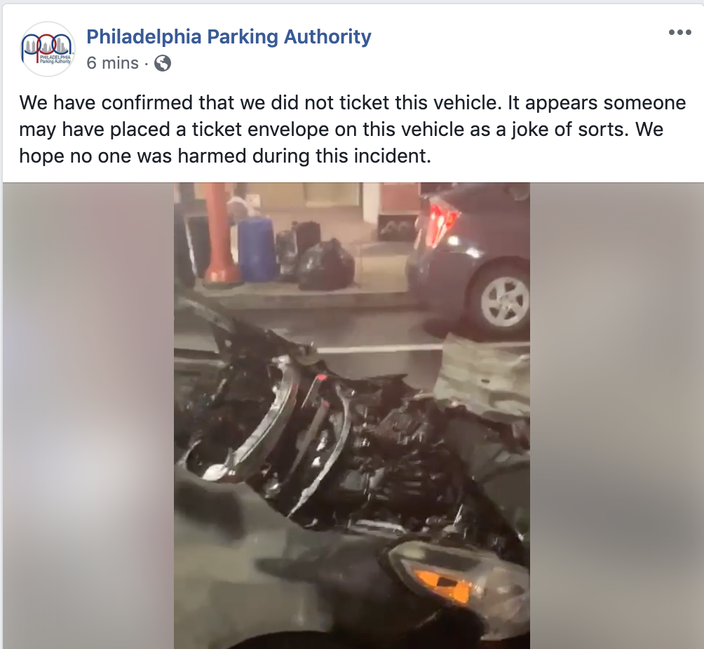 Philadelphia Parking Authority ticket burned car fire south street