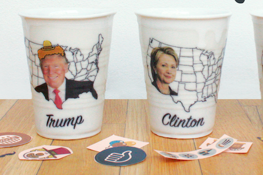 Clay Studio political ceramic cups