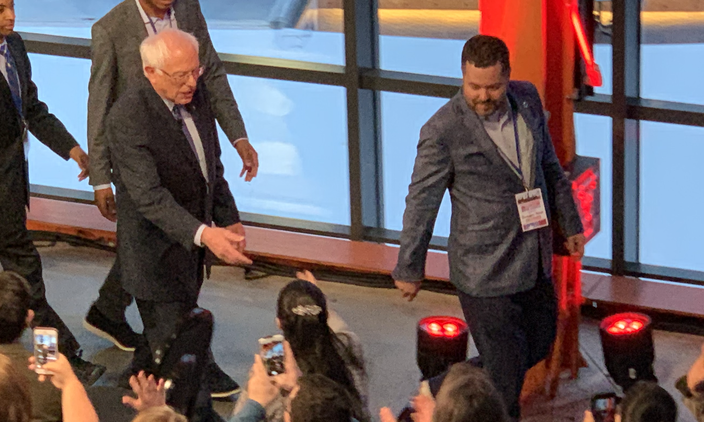 Bernie Sanders shakes hands with supporters after the Town Hall