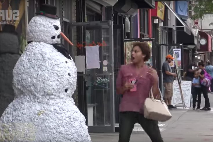 watch this creepy snowman scare people on south street phillyvoice