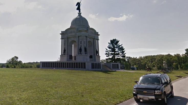 boy falls Monument Gettysburg