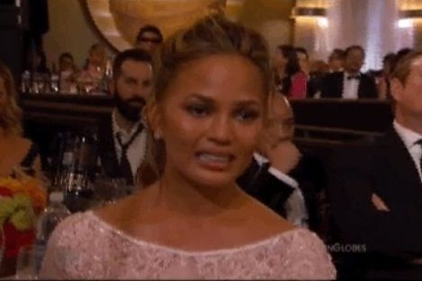 Supermodel Chrissy Teigen s cry face is real Golden Globe winner ... 83cf13cc0287