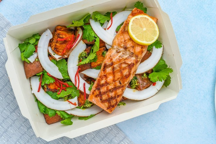 Salmon with Salad Dish