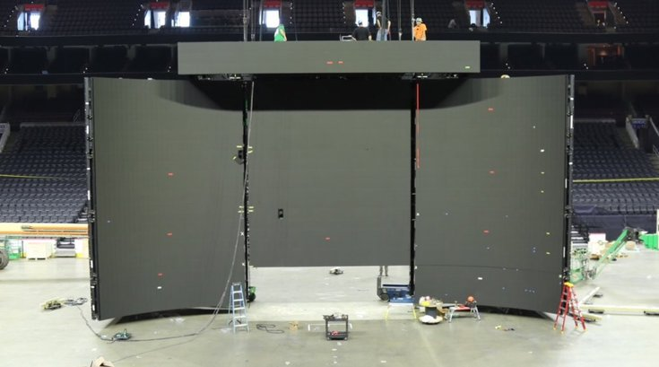 Wells Fargo Center scoreboard assembly