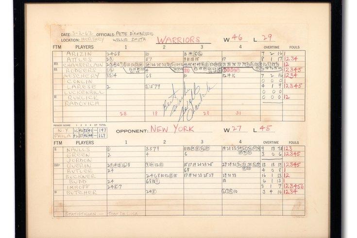 Wilt Chamberlain scoresheet