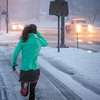 Woman running in winter weather